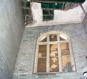 The window before the new panes were inserted. Photo by Alan Smith M.B.E.